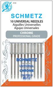 Schmetz, S-4133, Chrome, Professional, Grade, Universal, 10, pack, 130, 705, H, Size, 80, 12, strong, durable