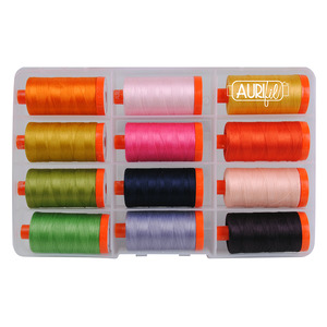 Aurifil HR50SP12 Sleeping Porch Thread Collection by Heather Ross, 12 Spools 50wt Cotton