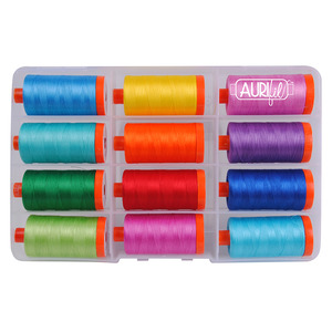 Aurifil SM50BC12 Brilliant Thread Collection by Sue Marsh (Large Spools  x 1094Yds) 50wt Cotton