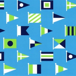 Fabric Finders 1915 Nautical Flag Fabric- Turquoise - fabric by the yard