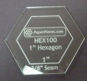 """81848: Paper Pieces Z100ACR Hexagon 1"""" Acrylic Fabric Cutting Template"""