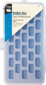 81853: Dritz D509 Bobbin Box Clear Plastic Holds 28 Bobbins