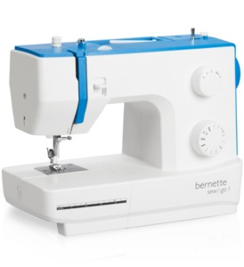 Bernette 10 Stitch Sew & Go 1 Mechanical Sewing Machine, Buttonhole, Needle Threader, Front Load Metal Bobbin Case and Shuttle Hook, 5mm Zigzag Width