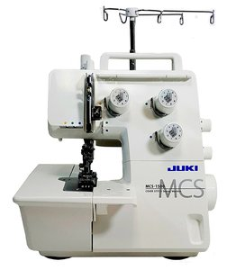 Juki, MCS-1500, MCS-1700QVP, Bernina L220, Cover, stitch, Chain, Machine, Juki MCS-1500 3 Needle 5mm Coverstitch & 1 Needle Chainstitch Machine, Differential Feed, Self Threading Single Looper, Seam Guide Extension Plat
