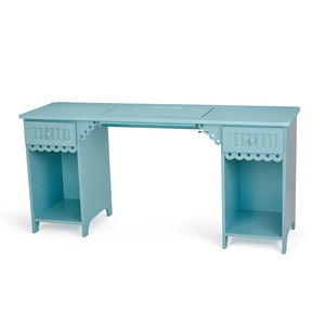 """Arrow, 1009, Olivia, Blue, Sewing Machine Cabinet, Desk, Table, RTA, 64""""Wx19 3/4""""Dx30""""H , 2 Position Lift, Freearm, & Flatbed, 2 Drawers, 2 Cubbies"""