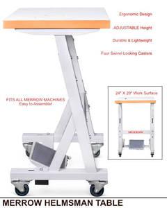 "Merrow Helmsman Adj Height 33-37"" Sew Emb Knit Machine Table 24x20"" FlatTop, Metal Legs, Locking Casters, Stand Up or Sit Down, 7 Colors*, Holds 300Lb"
