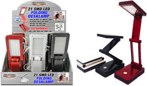 Shawshank SL702268 Ledz LED Folding Desk Lamp, USB Power Cable, Black, Red, or White