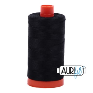 Aurifil MK50SC6-2692 Black Cotton Mako Thread 50wt 1422 Yard Spool