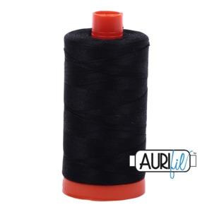 Aurifil MK50SC6-2692 Black Cotton Mako Thread 50wt 1422 Yard Spool