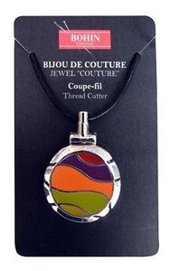 Bohin B98308 Jewel Thread Cutter Lime Orange Necklace