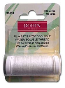 Bohin BH98533, Water Soluble Thread White 220 Yards for Hand or Machine Sewing