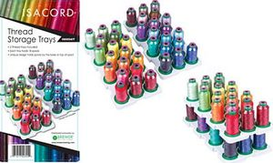 83171: Isacord IS6954IT Thread Storage with 2 Carry Trays of 18 Spool Pin Holders Each, enough for 36 Mini King Cones