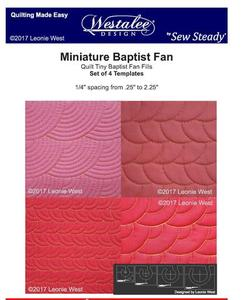 "Westalee WT-MBFSET 4 Piece Miniature Baptist Fan Template Set, 1/4"" to 2-1/4"" Radius from Center Circles on Quilts"