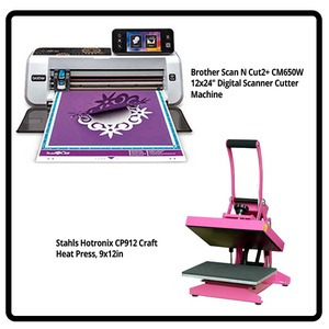 "Stahls CP912 Hotronix Heat Press Combo +Brother ScanNCut2 CM650WX 12x24in Digital Cutter, 5"" LCD Panel Wireless Card, Clip Art Book"