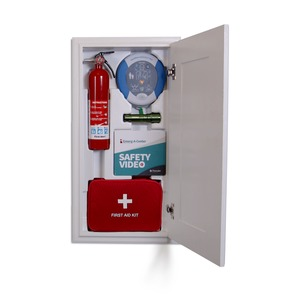 Emerg-A-Center EAC Emergency Cabinet, OSHA/ANSI Certified, Automated External Defibrillator AED, Fire Extinguisher, Flashlight, First Aid Kit, Video