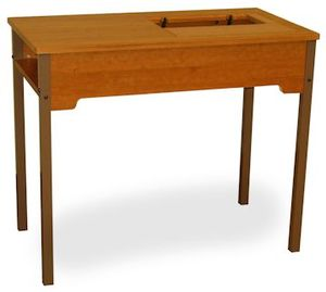 Fashion Sewing Cabinets Model 452 Flat Bed Machine School Desk Rustic Maple