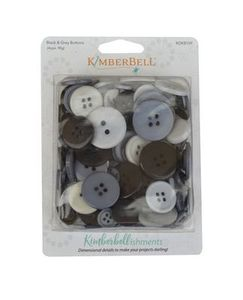 KimberBell Designs KDKB109 Kimberbellishments Button Set, Black & Grey