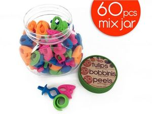 Smart Needle SNMIXJAR-60 The Mix Jar 60pcs Bobbinis Peels & Tulips for Keeping Thread on Bobbins and Matching Bobbins to Thread Spools.