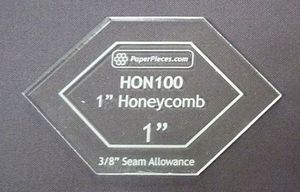 """84940: Paper Pieces Z100ACRHON Honeycomb 1"""" Acrylic Fabric Cutting Template"""
