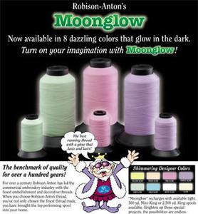 64443: Moonglow RA-MG-AQUGL Aqua Glow in the Dark Thread 40wt, 1 Spool 500Yds