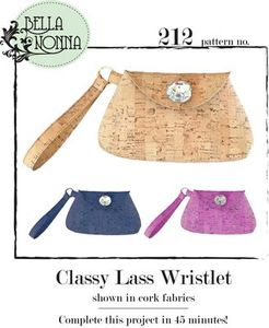 Bella Nonna BN212 Classy Lass Wristlet Purse Sewing Pattern, Shown with Optional Cork Fabrics