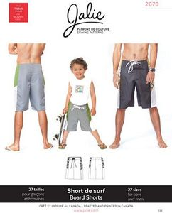 Jalie Patterns JAL2678 Board Shorts for Everyone Sewing Pattern, 27 Sizes
