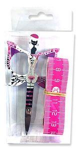 Bohin BH98575 Cat Scissor/Tape Measure Pink