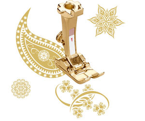 Bernina 103365.70.00 125th Anniversary 24 Karat New #1 Golden Presser Foot is Here for Forward and Reverse Patterns