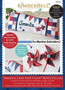 87488: KimberBell KD523 America, Land That I Love - Bench Pillow (ME)