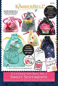 87498: KimberBell KD535 It's a Cinch Gift Bags - Sweet Sentiments V3