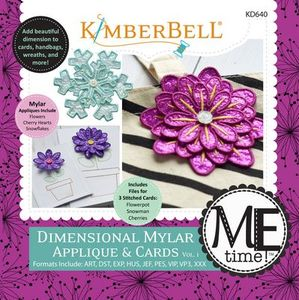 87576: KimberBell KD640 Dimensional Mylar Applique and Cards: Flowers Pot, Snowman, Cherries Heart (ME Time) CD
