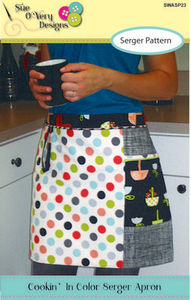 Sue O'Very Designs SWASP23 Cookin In Color, Serger Apron Sewing Pattern