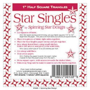 Spinning Star Design 1-1896 Star Singles 1.0in, 150 sheets of triangle paper in a bag, enough for 1,200 1in blocks