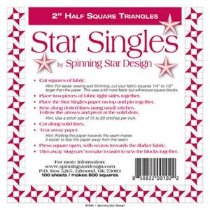 Spinning Star Design 1-1898, Star Singles 2.0in, 100 Sheets of Triangle Paper in a bag enough for 800 2.0in Blocks