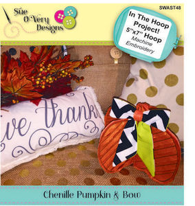 Sue O'Very Designs Chenille Pumpkin and Bow In The Hoop