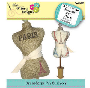 87868: Sue O'Very Designs SWAST50 ITH Dress Form Pin Cushion