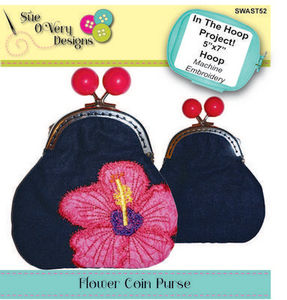 Sue O'Very Designs In The Hoop Flower Coin Purse