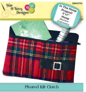 Sue O'Very Designs In The Hoop Pleated Kilt Clutch