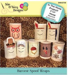 Sue O'Very Designs Harvest Spool Wraps In The Hoop