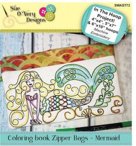 Sue O'Very Designs Coloring book Zipper Bags - Mermaid Design In The Hoop