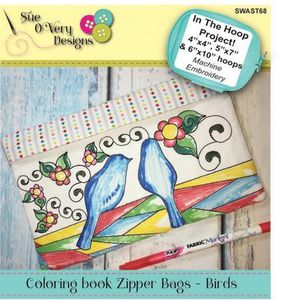 Sue O'Very Designs Coloring book Zipper Bags - Birds Design In The Hoop