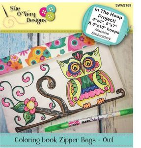 Sue OVery Designs SWAST69, Coloring Book Zipper Bags, Owl Design In The Hoop CD