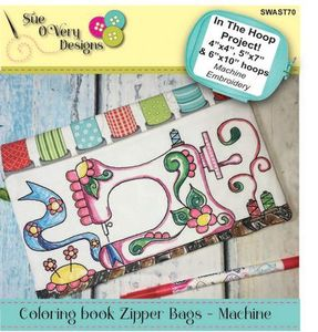 Sue O'Very Designs Coloring book Zipper Bags - Machine Design In The Hoop