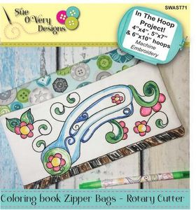 Sue O'Very Designs Coloring book Zipper Bags - Rotary Cutter Design In The Hoop