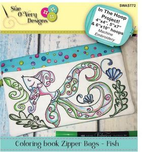 Sue O'Very Designs Coloring book Zipper Bags - Fish Design In The Hoop