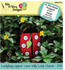 Sue O'Very Designs Ladybug Zipper Case with Leaf Charm - In The Hoop