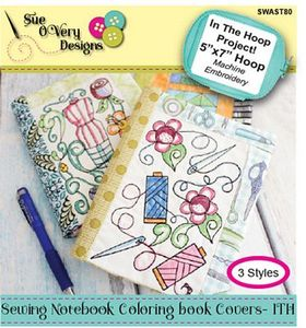 87937: Sue O'Very Designs SWAST80 Sewing Notebook Coloring Book Covers - ITH