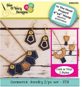 Sue O'Very Designs  Geometric Jewelry 2pc Set - In The Hoop