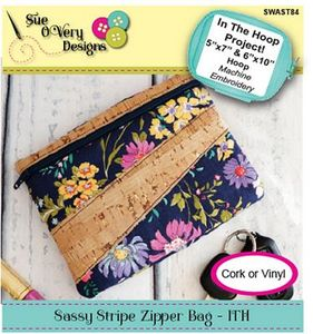 Sue O'Very Designs SWAST84,  Sassy Stripe Zipper Bag In The Hoop CD