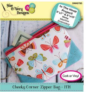 87942: Sue O'Very Designs SWAST85 Cheeky Corner Zipper Bag - ITH